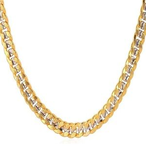 18k Yellow Gold Two-Tone Cuban Chain Necklace 6mm